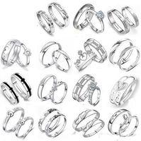 Mix 28 Arten 925 Sterling Silber Jewerly Ringe Diamant Verlobungsring Hochzeit Band Paar Ring Set Freies Verschiffen