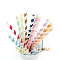 горячие продажи красочные полосатые бумажные соломинки творческие бумаги питьевой соломинки для детей День Рождения и свадьба украшения