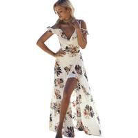 Çiçek Baskı Ruffles Şifon Maxi Elbiseler Askı V Boyun Bölünmüş Plaj Yaz Elbise Seksi Backless Kadınlar Elbise Uzun Vestidos Straplez Zemin L ...