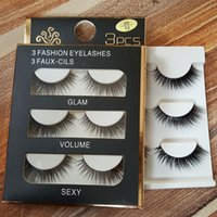3 Pairs 3D Beauty Black Thick False Eyelashes Makeup Cross L...