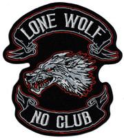 Il più nuovo lupo solitario Nessun club ferro ricamato in ferro su patch moto moto biker gilet rider patch applique badge 11cm * 10 cm spedizione gratuita