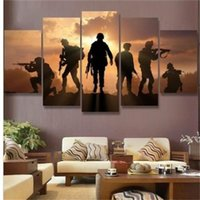 New 5 Pieces HD Print Abstract Soldiers Sunset Painting on C...