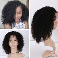 Brasileiro Afro Kinky Curly Curly Lace Human Human Wigs para mulheres negras 9a Kinky Curly Curly Front Human Human Wigs Perucas de renda completa