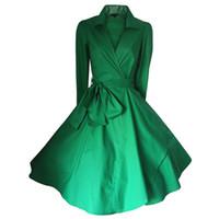 무료 배송 1940 년대 빈티지 50s Shirtwaist 플레어 복장 Swing Skaters 랩 볼 가운 칵테일 파티 드레스 FYV028