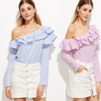 One Shoulder Ruffle Blouses And Shirts Women Elegant Blue Re...