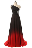2017 New Gradient Chiffon One Shoulder Long Prom Dresses Bea...