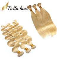 3 teile / los 8A Honig blonde menschliche haare webart natürliche gerade blonde bündel brasilianische haarverlängerungen body welle 613 bella haarbündel