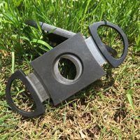 포켓 시가 커터 플라스틱 스테인레스 스틸 두 블레이드 가위 시가 나이프 나이프 액세서리 도구 좋은 선물 담배 블랙 9 * 3.8CM