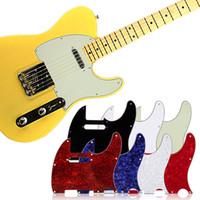 الصفر لوحة القياسية الحجم 3 رقائق بيضاء pickguard ل tuff الكلب tele telecaster غيتار كهربائي متعدد الألوان 3ply المسنين بيرلويد pickguard