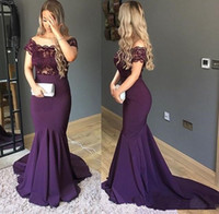 Elegant 2018 lace off shoulder formal evening dresses zipper...