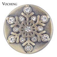 Vocheng نوسا عيد الزنجبيل مبكرة المجوهرات العتيقة برونزية كريستال ندفة الثلج التقط سحر 18 ملليمتر Vn-1748