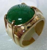 Hurtownie Tanie 14kt żółty zielony Jade Męskie pierścienie Rozmiar 9-11 Ringe
