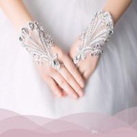 결혼식에 대한 공식적인 파티에 대한 새로운 도착 Fingerless 웨딩 장갑 저렴한 레이스 신부 액세서리