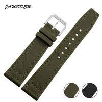 JAWODER Watchband 20MM 21MM 22MM الفولاذ المقاوم للصدأ دبوس مشبك أسود / جين / نايلون مع حزام جلد أسفل حزام لطياري البرتغال