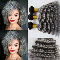 Ombre Color #1B Grey Deep Wave Curly Malaysian 9A Human Hair...