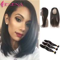 Malaysian Straight Hair Pre Plucked 360 Lace Frontal 360 Lac...