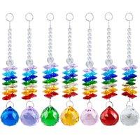 5 ADET Çakra Cam Kristal Suncatcher 30mm Kristal Top Prizma Gökkuşağı Octogon Boncuk Asılı Noel Süs W025-30mm