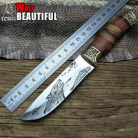 LCM66 Kurt desen Taktik Küçük Sabit Bıçaklar, Bakır kafa + masif ahşap kolu Survival Bıçak, Kamp Kurtarma Bıçak. Portatif bıçak