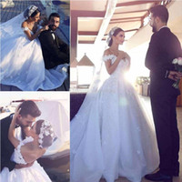 2017 Robe De Bal Robes De Mariée Off Épaule Appliques Florales Tulle Organza Dos Nu Chapelle Arabe Robes De Mariée De Mariage Dubaï