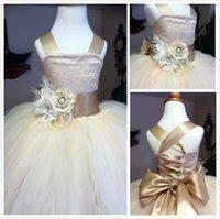 Venta al por mayor Vestido de bola de champán Vestidos de niña de las flores Baratos vestidos de satén de tul de novia de espaguetis Vestidos de encaje Vestidos de desfile de flores para adolescentes