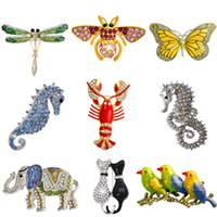 Al por mayor-Retro insecto mariposa de la libélula broche de abeja broche de cristal de las mujeres Elefante gato aves mar caballo Broches Mujer hombres Brosche