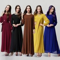 Новый мусульманин Абая платье для женщин Исламского платья Дубай Исламская одежда мусульманская кафтан Абая платье турецкий джилбаба хиджаб