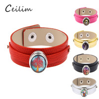 Different accessory 18mm wristband noosa leather bracelets c...