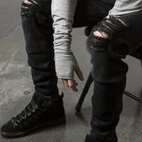 Vente en gros - Mesans Hommes Slim Slim Fit Moker Jeans Pantalon Pantalon Skinny Détressé Détruit Denim Jeans lavés Pantalon HiPhop Black