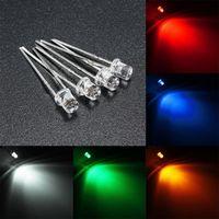 10pcs 3mm / 5mm flaches Spitzenwasser-freie LED, die Dioden-Licht-Zusammenstellungs-Lampe DIY 5 Farbe weiß gelb rot blau grün ausstrahlt