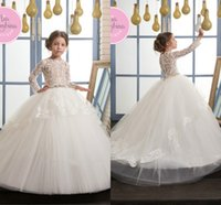 2017 Newest Puffy Ball Gowns Little Girl Pageant Dresses Whi...