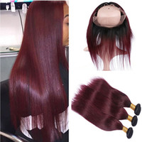 Brazilian Burgundy Ombre Human Hair 3Bundles with 360 Lace F...