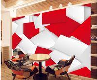 현대 간단한 3D 밝은 빨간색 배경 벽 벽화 3D TV 배경 벽지 3D 벽 논문