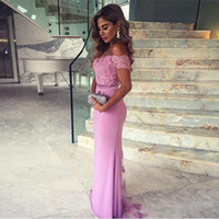 Elegant Long Bridesmaid Dress Lilac Mermaid Lace Off the Sho...