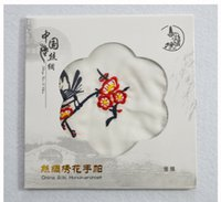 Benzersiz Beyaz Işlemeli Ipek Mendil Yetişkin Kadınlar Küçük Kare havlu Çin Etnik El Sanatları Hediye 10 adet / grup ücretsiz kargo