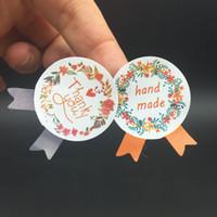 1200 pçs / lote flor medalha feito à mão e obrigado guirlanda selo adesivo cozimento pacote 4 cores
