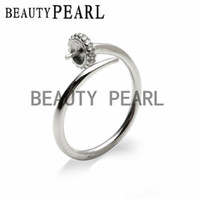 5 Pieces Pearl Mountings Open Ring Blank Findings Zircon 925...