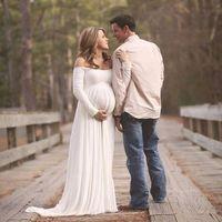 Vendita calda formato libero bianco maternità pizzo abito garza fotografia puntelli donne incinte abito lungo abiti gravidanza elegante viola / rosso / rosa