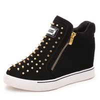 Spring Rivet Boots Double Zipper Rivet Boots Invisible Inner...