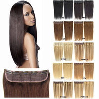 110g pcs Salon 5Clips On One Hair piece Real Human Hair Remy...