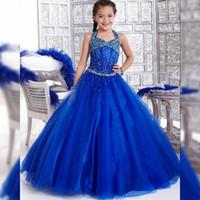 2021 Halter Halter Chicas Pagueant Vestidos Niños Vestido de noche Blue Blue Blue Flower Blue Girls Pagones largos Vestidos para juniors