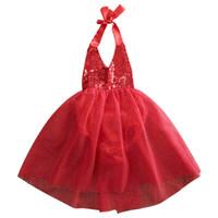 Großhandel - Backless Schöne Baby Mädchen Gürtel Pailletten Tüll Bogen Tutu Kleid Formale Partykleider Kleidung 0-2Y