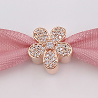New 925 Sterling Silver Beads Rose Gold Plated Dazzling Dais...