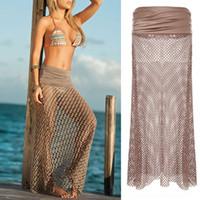 مثير النساء بيكيني ملابس السباحة التستر شاطئ اللباس مش جوفاء تنورة الكروشيه اللباس