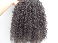 Extensões de cabelo humano virgem brasileiro 9 peças clipe no cabelo kinky encaracolado estilo de cabelo castanho escuro cor preta natural