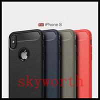 Coque Slim Armor pour iPhone X XR XS Max 8 7 Plus TPU en fibre de carbone pour Samsung Galaxy Note 8 9 S8 S9