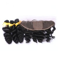 8A Loose Wave Human Hair Bundles With Lace Frontal Closure F...