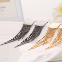 Silver Gold Color Long Tassel Dangle Earrings For Women Bar ...