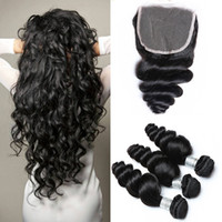 Brazilian Loose Wave Hair Weaves 3 Bundles with Closure Free...