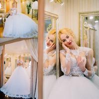 Новый дизайнерское шаровое платье принцесса свадебное платье o шеи иллюзия с длинным рукавом кружева без спинки свадебные платья на заказ из Китая