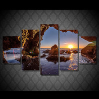 5 Pcs Set Framed HD Printed Sunrise Water Hole Sea Stones Wa...